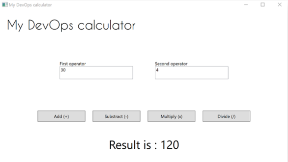 Desktop Application - My DevOps calculator