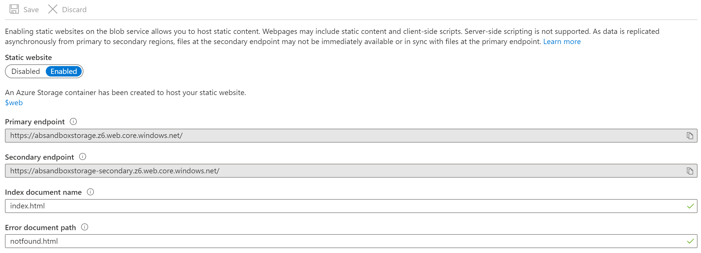 Configuration with Static Website activated